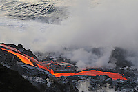 River of molten lava flowing to the sea, Kilauea Volcano, Hawaii Islands, United States