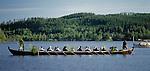 Sweden, Province Dalarnas laen, Leksand: Midsummer, church boat at Lake Siljan   Schweden, Provinz Dalarnas laen, Leksand: Kirchboot auf dem Siljan See zur Mittsommerfeier