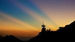 The Sun Sets Behind Temple Hill Transmission Station, Kowloon, Hong Kong.
