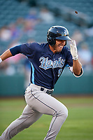 Corpus Christi Hooks right fielder Ramon Laureano (9) runs to first base during a game against the Springfield Cardinals on May 30, 2017 at Hammons Field in Springfield, Missouri.  Springfield defeated Corpus Christi 4-3.  (Mike Janes/Four Seam Images)
