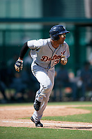Detroit Tigers Derek Hill (31) runs to first base during an Instructional League game against the Atlanta Braves on October 10, 2017 at the ESPN Wide World of Sports Complex in Orlando, Florida.  (Mike Janes/Four Seam Images)