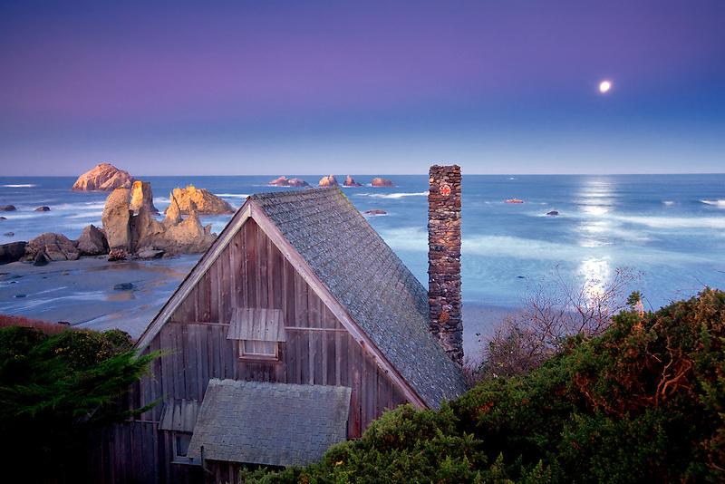 Cabin overlooking Bandon beach with moon set. Bandon, Oregon