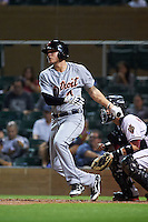 Scottsdale Scorpions shortstop JaCoby Jones (4) at bat during an Arizona Fall League game against the Salt River Rafters on October 13, 2015 at Salt River Fields at Talking Stick in Scottsdale, Arizona.  Salt River defeated Scottsdale 5-3.  (Mike Janes/Four Seam Images)