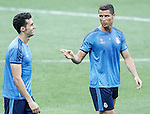Real Madrid's Cristiano Ronaldo (r) and Alvaro Arbeloa during Champions League 2015/2016 training session. May 27,2016. (ALTERPHOTOS/Acero)