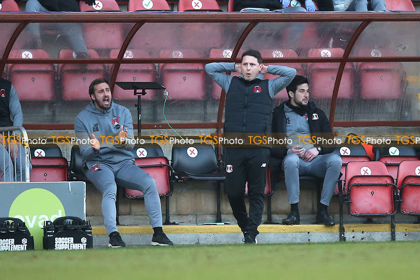 Frustration for Leyton Orient manager Ross Embleton during Leyton Orient vs Port Vale, Sky Bet EFL League 2 Football at The Breyer Group Stadium on 20th February 2021