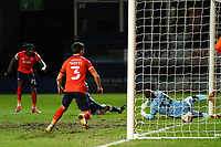 23rd February 2021; Kenilworth Road, Luton, Bedfordshire, England; English Football League Championship Football, Luton Town versus Millwall; Elijah Adebayo of Luton Town scores for 1-0 in the 55th minute