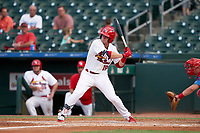 Palm Beach Cardinals Nolan Gorman (18) bats during a Florida State League game against the Clearwater Threshers on August 9, 2019 at Roger Dean Chevrolet Stadium in Jupiter, Florida.  Palm Beach defeated Clearwater 3-0 in the second game of a doubleheader.  (Mike Janes/Four Seam Images)