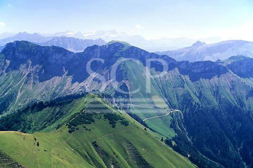 Switzerland. Roche de Naye with roads and tracks winding across the mountainside.