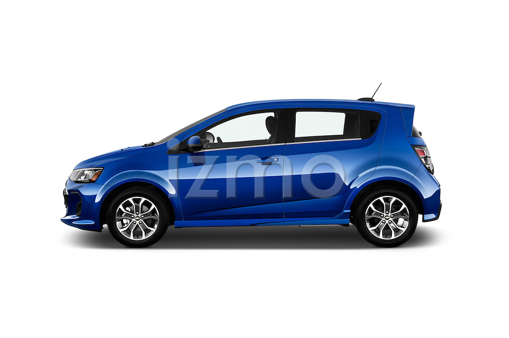 Car Driver side profile view of a 2017 Chevrolet Sonic LT 5 Door Hatchback Side View
