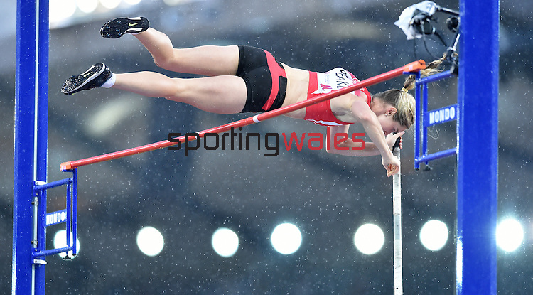 Wales' Sally Peake makes a successful jump in the women's pole vault competition.  Peake went on to claim the silver medal.<br /> <br /> Photographer Chris Vaughan/CameraSport<br /> <br /> 20th Commonwealth Games - Day 10 - Saturday 2nd August 2014 - Athletics - Hampden Park - Glasgow - UK