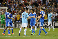 Chelsea and Manchester City players shake hands at the end of the game..Manchester City defeated Chelsea 4-3 in an international friendly at Busch Stadium, St Louis, Missouri.