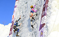 January 5th 2020, Changchun, China;  Nikolai Kuzovlev of Russia competes during the mens speed final at 2019-2020 UIAA International Climbing and Mountaineering Federation Ice Climbing World Cup at Lotus Mountain in Changchun, capital of northeast Chinas Jilin Province