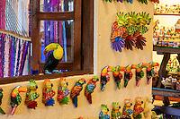 Toucan on Window Sill of Gift and Handicraft Shop, Xplor, Playa del Carmen, Riviera Maya, Yucatan, Mexico.