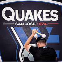 SAN JOSE, CA - MAY 01: San Jose Earthquakes drum during a game between San Jose Earthquakes and D.C. United at PayPal Park on May 01, 2021 in San Jose, California.