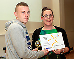Sinead Mccourt presents the Award for Amazing Actor to Darren Mulhern at the Boyne Garda Youth Project Awards in the Holy Family Community Centre...Photo NEWSFILE/Jenny Matthews..(Photo credit should read Jenny Matthews/NEWSFILE)