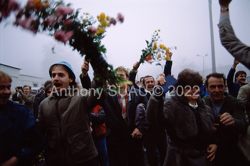 Lichterfelde, Berlin (West) and Teltow, Potsdam (East) crossing post, East Germany<br /> November 14, 1989 <br />  <br /> East Germans celebrate the opening of the Berlin Wall. Germans gathered as the wall is dismantled and the East German government lifts travel and emigration restrictions to the West on November 9, 1989.