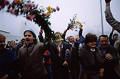 Ostpreu Bendamm, East Germany<br /> November 14, 1989 <br />  <br /> East Germans celebrate the opening of the Berlin Wall. Germans gathered as the wall is dismantled and the East German government lifts travel and emigration restrictions to the West on November 9, 1989.