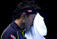 Kei Nishikori of Japan frustrated at the ATP World Tour Finals, The O2, London, 2015