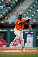 Norfolk Tides Ademar Rifaela (2) bats during an International League game against the Buffalo Bisons on June 21, 2019 at Sahlen Field in Buffalo, New York.  Buffalo defeated Norfolk 2-1, the first game of a doubleheader.  (Mike Janes/Four Seam Images)
