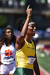 13 JUNE 2015: Raevyn Rogers of Oregon celebrates as she crosses the finish line to win the NCAA Championship in the Women's 800 meters during the Division I Men's and Women's Outdoor Track & Field Championship held at Hayward Field in Eugene, OR. Rogers won the race in a time of 1:59.71. Steve Dykes/ NCAA Photos