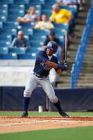 Andrew Baker (5) of Ridge Community High School in Haines City, Florida playing for the Tampa Bay Rays scout team during the East Coast Pro Showcase on July 28, 2015 at George M. Steinbrenner Field in Tampa, Florida.  (Mike Janes/Four Seam Images)