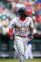 Syracuse Chiefs left fielder Brian Goodwin (15) runs to first base during a game against the Buffalo Bisons on July 31, 2016 at Coca-Cola Field in Buffalo, New York.  Buffalo defeated Syracuse 6-5.  (Mike Janes/Four Seam Images)