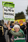 © Joel Goodman - 07973 332324 . 08/10/2016 . Lancashire , UK . Anti fracking demonstration against the government and fracking firm Cuadrilla at Maple Farm on Preston New Road near Preston in Lancashire , following Communities and Local Government Minister Sajid Javid's decision to overturn Lancashire County Council's decision to ban fracking on the site . Photo credit : Joel Goodman