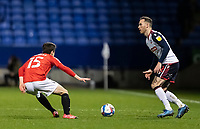 Bolton Wanderers' Gethin Jones competing with Salford City's Luke Burgess (left) <br /> <br /> Photographer Andrew Kearns/CameraSport<br /> <br /> The EFL Sky Bet League Two - Bolton Wanderers v Salford City - Friday 13th November 2020 - University of Bolton Stadium - Bolton<br /> <br /> World Copyright © 2020 CameraSport. All rights reserved. 43 Linden Ave. Countesthorpe. Leicester. England. LE8 5PG - Tel: +44 (0) 116 277 4147 - admin@camerasport.com - www.camerasport.com