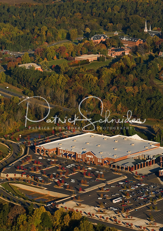 Aerial view of a Lowe's store near Belmont Abbey College, outside of Charlotte, NC.