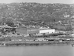 Pittsburgh PA:  View of Pittsburgh's North Side from Mt Washington.  The view includes the famous Kaufmann's Warehouse where good deals could be had most weekends.