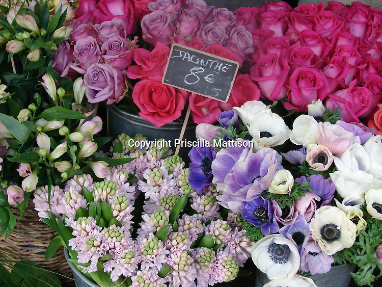 Closeup of flowers at a stand in France