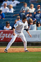 New York Yankees pinch runner Tyler Wade (94) leads off first base during a Spring Training game against the Detroit Tigers on March 2, 2016 at George M. Steinbrenner Field in Tampa, Florida.  New York defeated Detroit 10-9.  (Mike Janes/Four Seam Images)