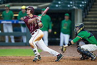 Jackson Lueck (2) of the Florida State Seminoles watches the flight of his walk-off 2-run home run in the bottom of the 12th inning against the Notre Dame Fighting Irish in Game Four of the 2017 ACC Baseball Championship at Louisville Slugger Field on May 24, 2017 in Louisville, Kentucky.  The Seminoles defeated the Fighting Irish 5-3. (Brian Westerholt/Four Seam Images)
