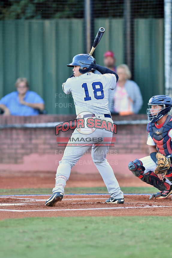 Pulaski Yankees first baseman Andres Chaparro (18) awaits a pitch during game one of the Appalachian League Championship Series against the Elizabethton Twins at Joe O'Brien Field on September 7, 2017 in Elizabethton, Tennessee. The Twins defeated the Yankees 12-1. (Tony Farlow/Four Seam Images)