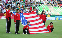 .Action photo of the USA flag, during game of the FIFA Under 17 World Cup game, held at  Torreon.