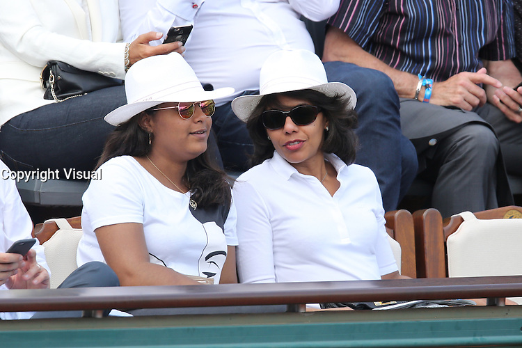 Audrey Pulvar and daughter Charis seen watching tennis during Roland Garros tennis open 2016 on may 27 2016.