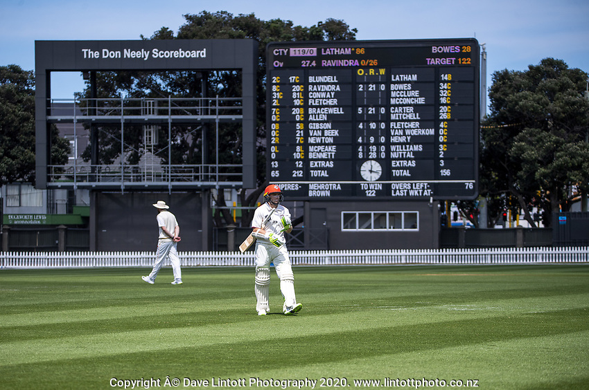 Tom Latham walks back to the pavilion after being dismissed for 86 during day four of the Plunket Shield match between the Wellington Firebirds and Canterbury at Basin Reserve in Wellington, New Zealand on Thursday, 22 October 2020. Photo: Dave Lintott / lintottphoto.co.nz