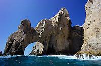 Cabo San Lucas natural stone bridge and huge tidal wawes in Baja California