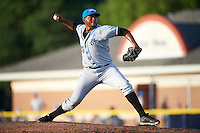 Hudson Valley Renegades relief pitcher Jose Alonzo (35) during a game against the Batavia Muckdogs on July 31, 2016 at Dwyer Stadium in Batavia, New York.  Hudson Valley defeated Batavia 4-1.  (Mike Janes/Four Seam Images)