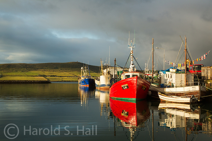 The fishing fleet of Dingle, Ireland is as brightly colored as the small houses and shops in the town.  The low angle of the rising sun added to the vibrancy of the colors.
