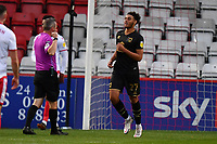 Jay Bird of MK Dons F.C. scores the second Goal and celebrates during Stevenage vs MK Dons, EFL Trophy Football at the Lamex Stadium on 6th October 2020