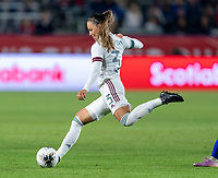CARSON, CA - FEBRUARY 7: Janelly Farias #3 of Mexico passes the ball during a game between Mexico and USWNT at Dignity Health Sports Park on February 7, 2020 in Carson, California.