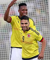 Colombia's Yerri Mina (l) and Radamel Falcao celebrate goal during international friendly match. June 13,2017.(ALTERPHOTOS/Acero) (NortePhoto.com) (NortePhoto.com)