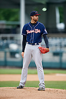 New Hampshire Fisher Cats starting pitcher T.J. Zeuch (28) looks in for the sign during the second game of a doubleheader against the Harrisburg Senators on May 13, 2018 at FNB Field in Harrisburg, Pennsylvania.  Harrisburg defeated New Hampshire 2-1.  (Mike Janes/Four Seam Images)