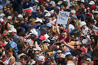 An Arkansas fan holds up a sign, Saturday, October 9, 2021 during the third quarter of a football game at Vaught Hemingway Stadium in Oxford, Miss. Check out nwaonline.com/211010Daily/ for today's photo gallery. <br /> (NWA Democrat-Gazette/Charlie Kaijo)