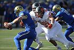 Bishop Gorman's Jaxon Bozarth sacks Reed's quarterback Cameron Emerson in the first half of the NIAA 4A state championship football game in Reno, Nev., on Saturday, Dec. 2, 2017. Cathleen Allison/Las Vegas Review Journal @NVMomentum