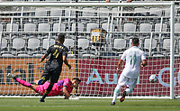 LOS ANGELES, CA - APRIL 17: Pablo Sisniega #23 of LAFC makes a save during a game between Austin FC and Los Angeles FC at Banc of California Stadium on April 17, 2021 in Los Angeles, California.