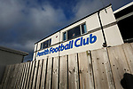 Penrith sign on the main stand. Penrith AFC V Hebburn Town, Northern League Division One, 22nd December 2018. Penrith are the only Cumbrian team in the Northern League. All the other teams are based across the Pennines in the north east.<br /> Penrith, winless at kick off, lost a thriller 3-4, in front of 100 people. They won five games all season, but were reprieved from relegation following Blyth's resignation from the league.