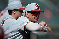 Conor McKenna (5) Oklahoma Sooners prior to the game against the Missouri Tigers in game four of the 2020 Shriners Hospitals for Children College Classic at Minute Maid Park on February 29, 2020 in Houston, Texas. The Tigers defeated the Sooners 8-7. (Brian Westerholt/Four Seam Images)