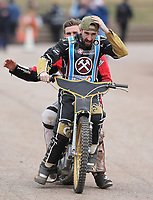 Nick Laurence and George Hunter of Lakeside Hammers on the victory lap<br /> <br /> Photographer Rob Newell/CameraSport<br /> <br /> National League Speedway - Lakeside Hammers v Eastbourne Eagles - Lee Richardson Memorial Trophy, First Leg - Friday 14th April 2017 - The Arena Essex Raceway - Thurrock, Essex<br /> © CameraSport - 43 Linden Ave. Countesthorpe. Leicester. England. LE8 5PG - Tel: +44 (0) 116 277 4147 - admin@camerasport.com - www.camerasport.com